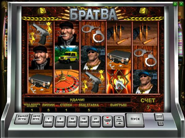 Игровой автомат Братва - зарабатывай по крупному как в лихие 90-е в казино Вулкан