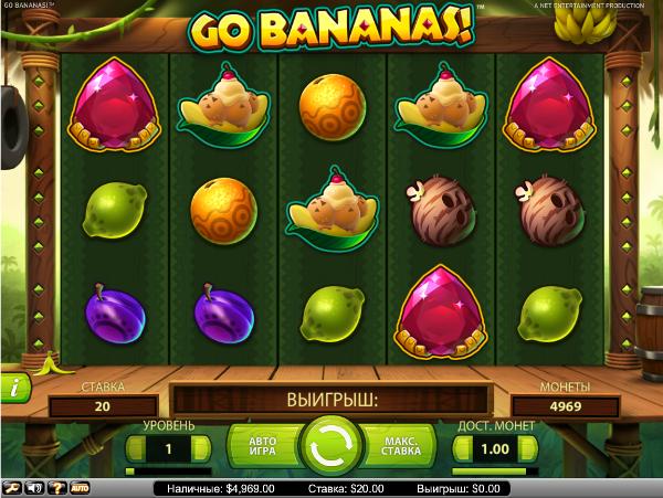 Игровой автомат Go Bananas - сокровища джунглей в казино Вулкан