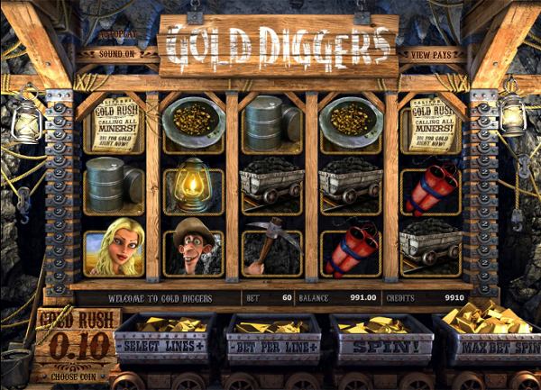Игровой автомат Gold Diggers - громадное количество золота в казино СуперСлотс